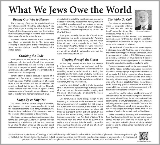 "NY Times Article ""What We Jews Owe The World"""