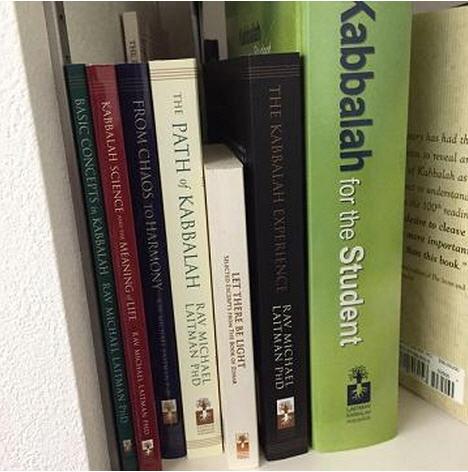 bookshelf of Kabbalah books